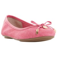 Dune Hype Bow Ballet Pumps Pink Suede