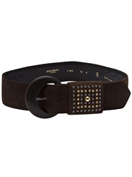 Yves Saint Laurent Vintage Studded Suede Belt Brown