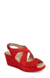 Johnston And Murphy Women's Dana Wedge Sandal Flamingo Red Suede