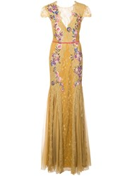 Marchesa Notte Floral Embroidered Gown Yellow And Orange