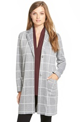 Nydj Windowpane Check Long Jacket Vanilla Heather Grey