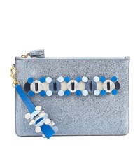 Anya Hindmarch Crinkled Leather Zip Pouch Female Blue