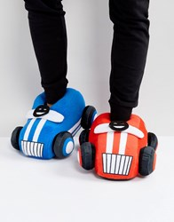 Asos Car Slippers In Red And Blue Multi