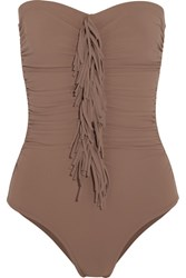 Karla Colletto Fresco Fringed Ruched Bandeau Swimsuit Light Brown