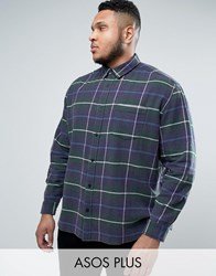 Asos Plus Oversized Check Shirt With Acid Wash Green