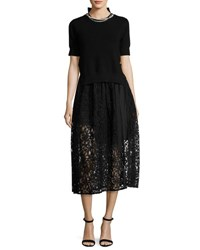 Sacai Short Sleeve Knit And Lace Combo Dress W Pearly Trim Black