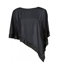 Gina Bacconi Chiffon Cape With Sequin Edge Black