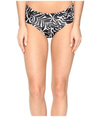 Tommy Bahama Pinwheel Palms Reversible Side Shirred High Waist Bikini Bottom Black White Women's Swimwear