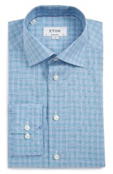Eton Men's Big And Tall Contemporary Fit Check Dress Shirt Blue Green Check