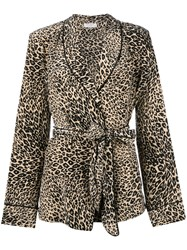 Barbara Bui Leopard Print Belted Jacket Brown
