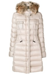 Moncler Hermifur Padded Coat Women Polyamide Racoon Fur Feather Goose Down 3 Nude Neutrals