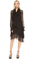 Wgaca Chloe Tiered Long Sleeve Dress Previously Owned Black