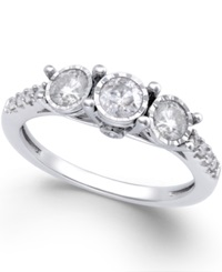 Macy's Diamond Three Stone Ring 3 4 Ct. T.W. In 14K White Gold