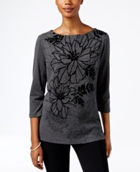 Karen Scott Embellished Floral Print Top Only At Macy's Charcoal Heather