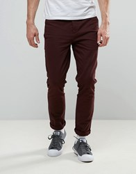 Religion Skinny Fit Chino With Stretch Merlot Red