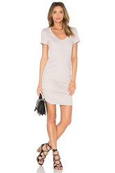 Michael Stars V Neck Rouched Shirt Dress Tan