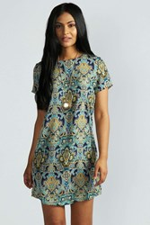 Boohoo Paisley Print Short Sleeve Shift Dress Navy