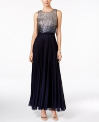 Betsy And Adam Ombre Sequin Popover Gown Navy Silver