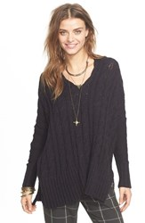 Women's Free People Easy Cable V Neck Sweater Black