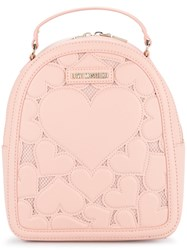 Love Moschino Heart Embroidered Backpack Pink And Purple