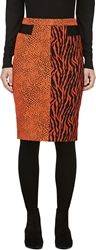 Avelon Red Orange Animal Print Jacquard Skirt