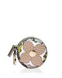 Etienne Aigner Round Leather Coin Case Sandstone White Gold
