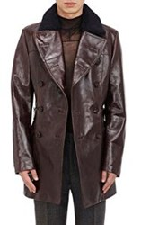Maison Martin Margiela Maison Margiela Men's Leather Double Breasted Jacket With Faux Fur Col Brown