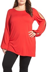 Vince Camuto Plus Size Women's Beaded Slit Sleeve Asymmetrical Top
