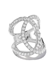 Loree Rodkin 18Kt White Gold Medium Pave Diamond Interlink Ring 60