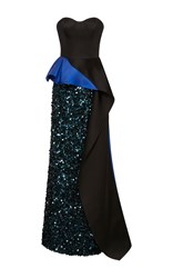 Elizabeth Kennedy Strapless Gown With Bi Colored Peplum And Cascade Train Black