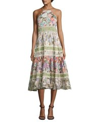 Rebecca Taylor Printed Cotton And Silk Halter Dress Print Mix Combo