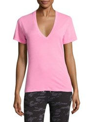 Monrow Short Sleeve V Neck Tee Neon Pink