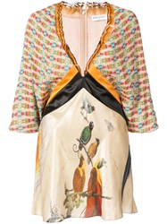 Vionnet Color Block Printed Blouse Nude And Neutrals
