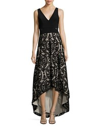Xscape Evenings Mesh Floral Embroidered Dress Black Stone