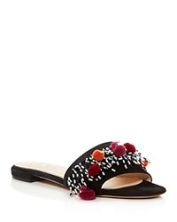 Aska Babs Beaded Pom Pom Slide Sandals Black