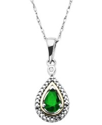 Macy's Gemstone 1 2 Ct. T.W. And Diamond Accent Teardrop Pendant Necklace In 14K Gold And Sterling Silver