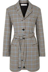J.W.Anderson Jw Anderson Belted Houndstooth Wool And Cotton Blend Blazer Brown