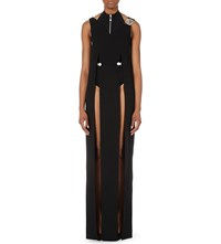 Versus Slit Detail Crepe Gown Black