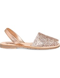Solillas Nubuck Leather Sandals Peach Glitter