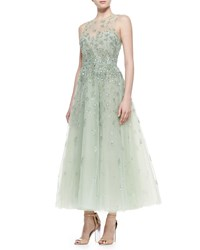 Monique Lhuillier Floral Beaded Illusion Tulle Gown Mint