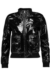 R 13 R13 Bowie Textured Patent Leather Biker Jacket Black