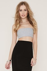 Forever 21 Stripe Tube Top Heather Grey