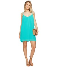 Bb Dakota Ronnie Crinkle Gauze Dress Teal Green Women's Dress