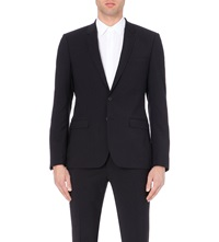 Sandro Wool Suit Jacket Navy Blue