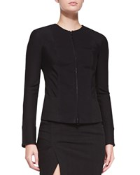 Donna Karan Collarless Zip Front Jacket