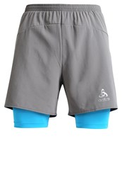 Odlo Kanon 2In1 Sports Shorts Steel Grey Blue Jewel Light Grey