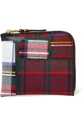 Comme Des Garcons Taped Plaid Wool Wallet Red