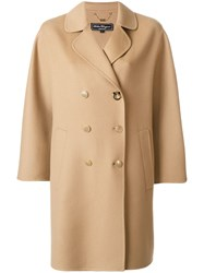 Salvatore Ferragamo Double Breasted Cape Coat Nude And Neutrals