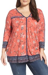 Lucky Brand Plus Size Women's Contrast Piped Floral Border Top