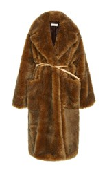Isa Arfen Faux Fur Cozy Coat Brown